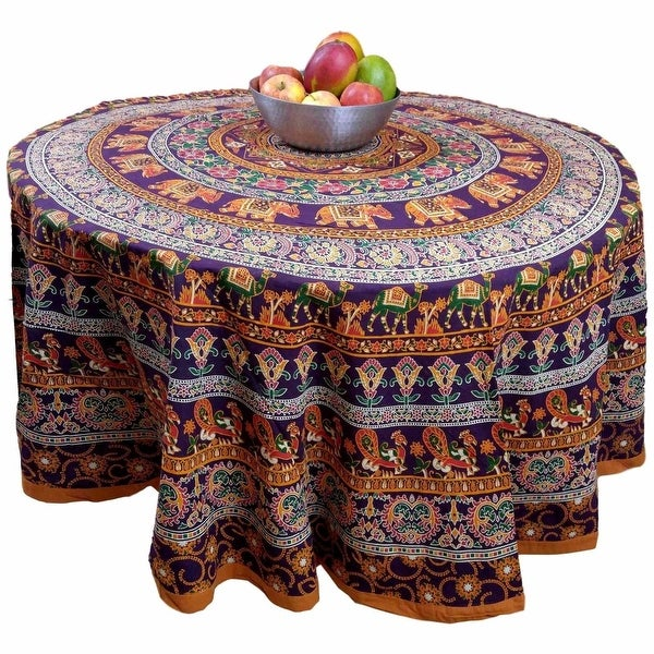 "Handmade 100% Cotton Elephant Mandala Floral 81"" Round Tablecloth Burgundy Mustard"