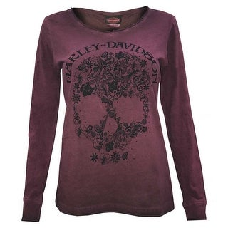 Harley-Davidson Women's Floral Skull Notched V-Neck Long Sleeve Shirt, Purple