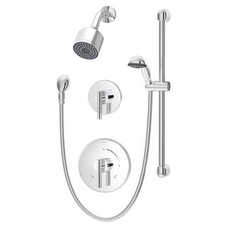 Symmons 3505-H321-V-CYL-B-1.5 Dia Shower Trim Package with Single Function Shower Head, Hand Shower, and Double Lever Handle - (2 options available)