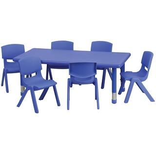 Offex 24''W x 48''L Adjustable Rectangular Blue Plastic Activity Table Set with 6 School Stack Chairs|https://ak1.ostkcdn.com/images/products/is/images/direct/60d173825729c28b4a6f841a6b18e9c03682af91/Offex-24%27%27W-x-48%27%27L-Adjustable-Rectangular-Blue-Plastic-Activity-Table-Set-with-6-School-Stack-Chairs.jpg?impolicy=medium