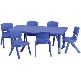 Offex 24''W x 48''L Adjustable Rectangular Blue Plastic Activity Table Set with 6 School Stack Chairs