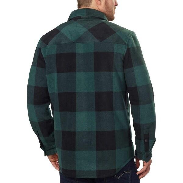 Men/'s Freedom Foundry Men/'s Fleece Super Plush Shirt Jacket Black Heather