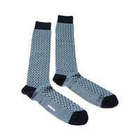 Missoni GM00CMU5240 0003 Turquoise/White Chevron Knee Length Socks - L