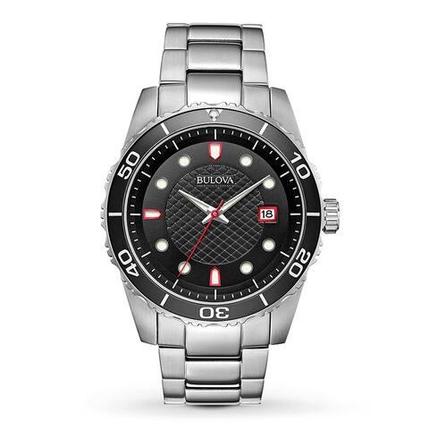 Bulova Men's 98A195 Sport Stainless Black Dial Bracelet Watch - Silver-Tone