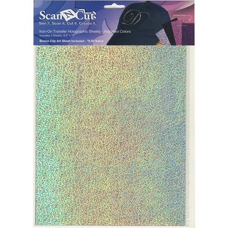 """Brother ScanNCut 8.5""""X11"""" Iron-On Transfer Holographic Sheets-Assorted-White, Black, Pink, Purple"""
