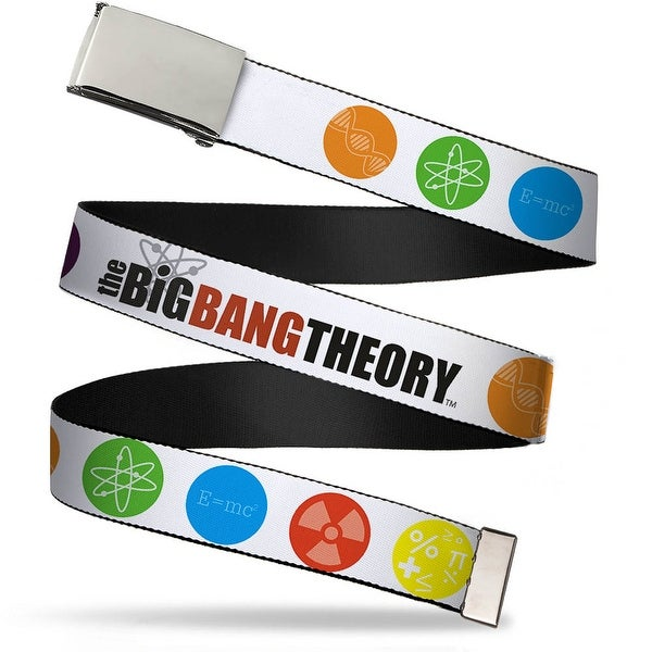Blank Chrome 1.0 Buckle The Big Bang Theory DNA Atom E Radiation White Web Belt