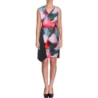 T Tahari Womens Lolita Colorblock Sleeveless Wear to Work Dress