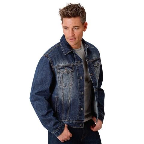 Roper Western Jacket Men Denim Button Pockets Blue