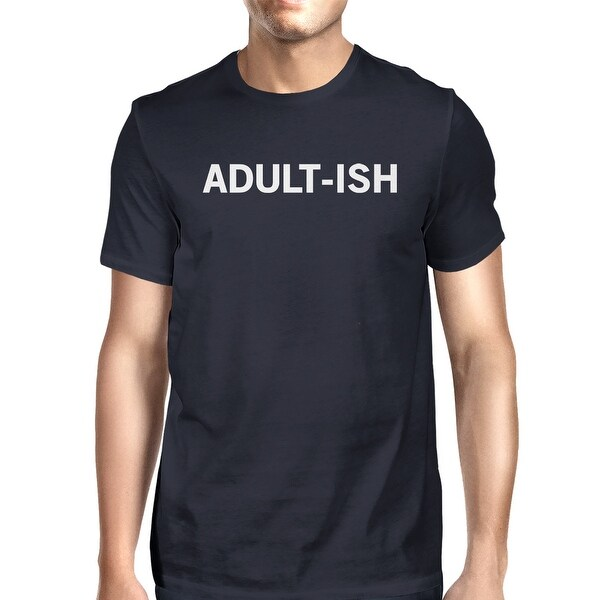 Adult-ish Men Navy T-shirts Cute Graphic Printed Short Sleeve Shirt