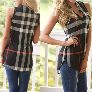 Polished Playful Plaid Sleeveless Shirt