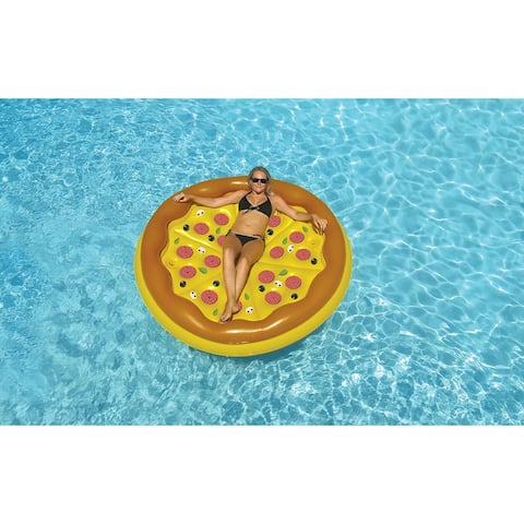 """70"""" Inflatable Brown and Yellow Pizza Round Swimming Pool Raft Lounger"""