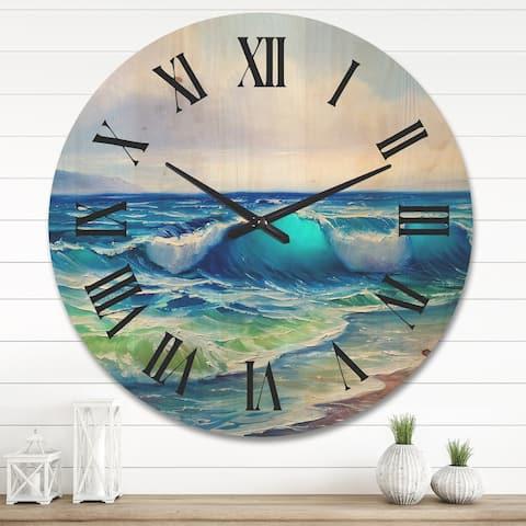 Designart 'Seascape With Sunlight Catching A Wave' Nautical & Coastal Wood Wall Clock
