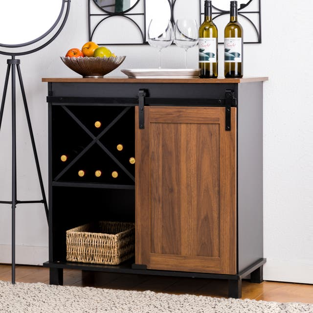 """Glitzhome 31.50""""L Modern Industrial Wine Cabinet Buffet Sideboard with Sliding Door - Brown"""