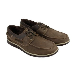 GBX Ellum Mens Brown Leather Casual Dress Lace Up Boat Shoes