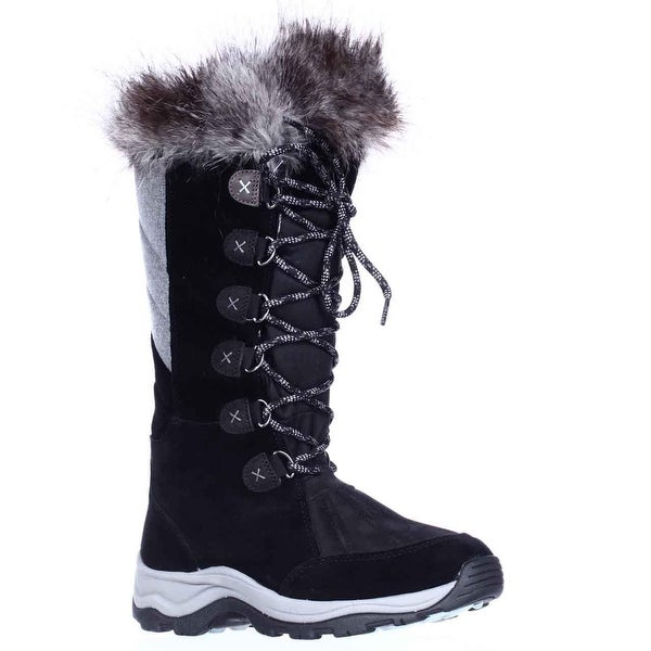 Clarks Wintry Hi Waterproof FLeece Lined Lace Up Winter Boots, Black