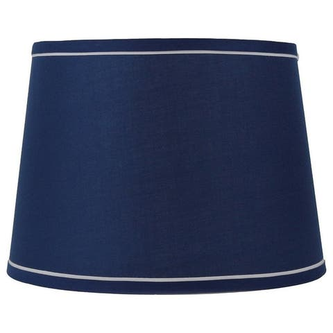 French Drum With White Trim Lampshade, 10 inch Top, 12 inch Bottom, 8.5 inch Slant