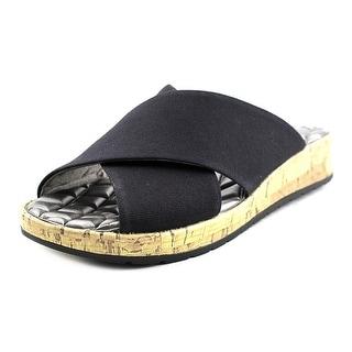 Life Stride Positive Women Open Toe Canvas Black Slides Sandal