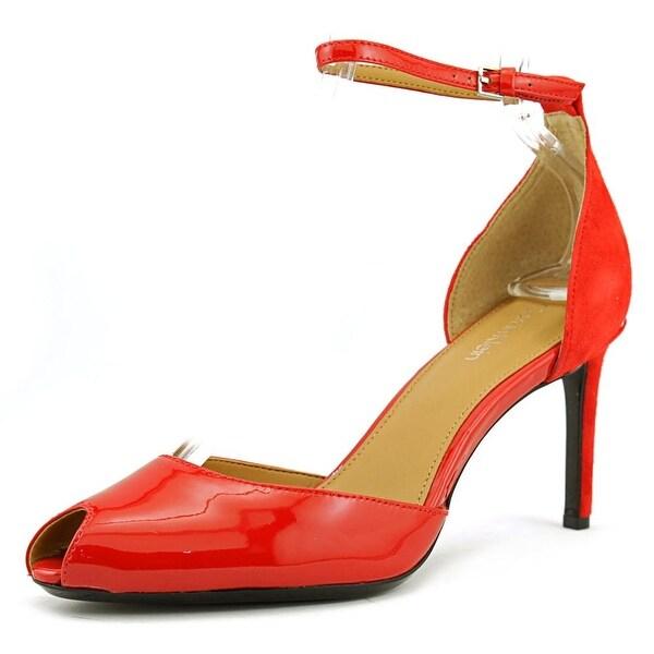 0e3afae807e Shop Calvin Klein Saiden Heel Women Peep-Toe Patent Leather Red ...