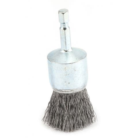 """Forney 72737 Coarse Crimped Wire End Brush, 1"""" x 0.012"""", 1/4"""" Hex Shank"""