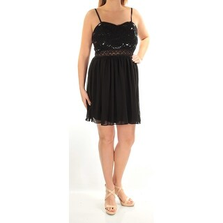 Womens Black Spaghetti Strap Above The Knee Cocktail Dress Size: 0