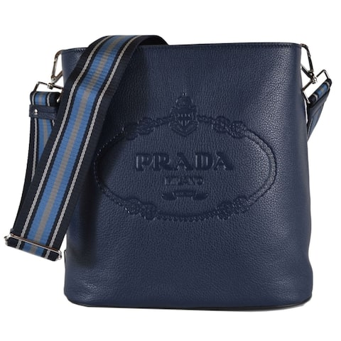 c4da1409398a Prada 1BE023 Vitello Secchiello Blue Leather Embossed Logo Crossbody Purse