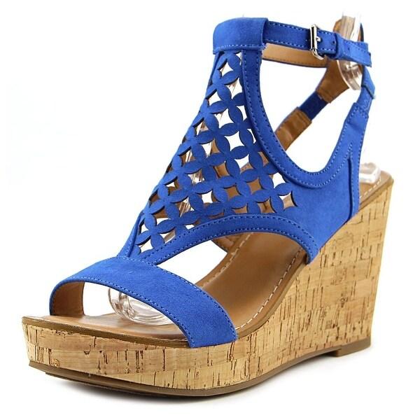 Franco Sarto Cameron Women Open Toe Synthetic Blue Wedge Sandal