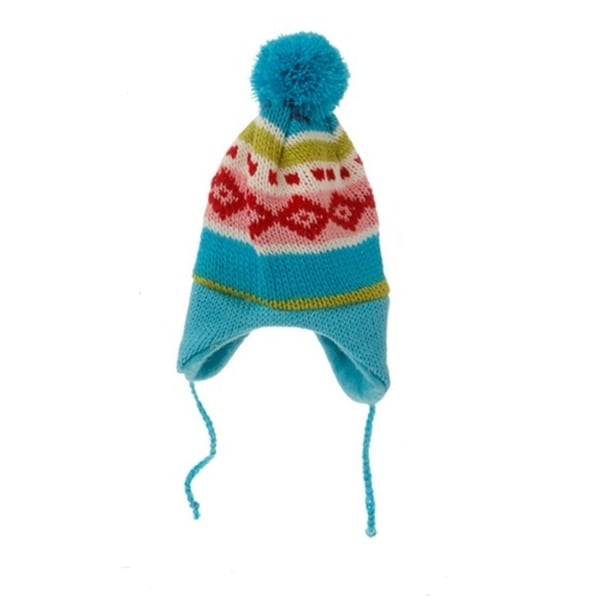 "8.75"" Merry & Bright Nordic Blue Knit Ear Flap Winter Hat Christmas Ornament - multi"