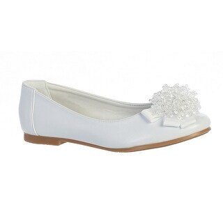 Girls White Crystal Bead Bow Anna Special Occasion Dress Shoes 11-4 Kids