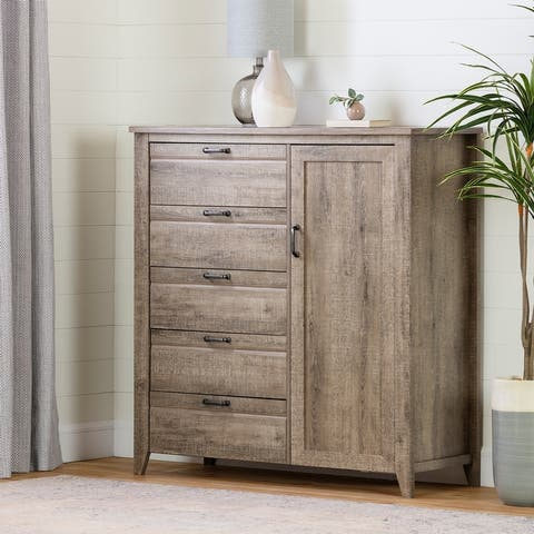 South Shore Lionel Door Chest with 5 Drawers