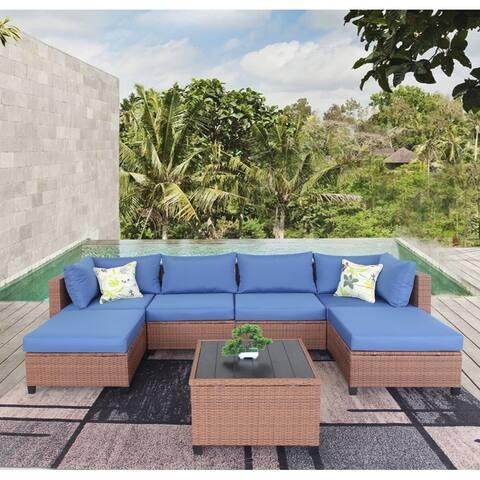 Patio Outdoor 6 Piece PE Rattan Sectional Sofa Furniture Set