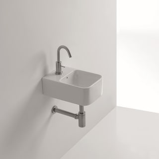 "WS Bath Collections Normal 01C  9-1/2"" Ceramic Wall Mounted / Vessel Bathroom Sink with 1 Hole Drilled and Overflow from the"