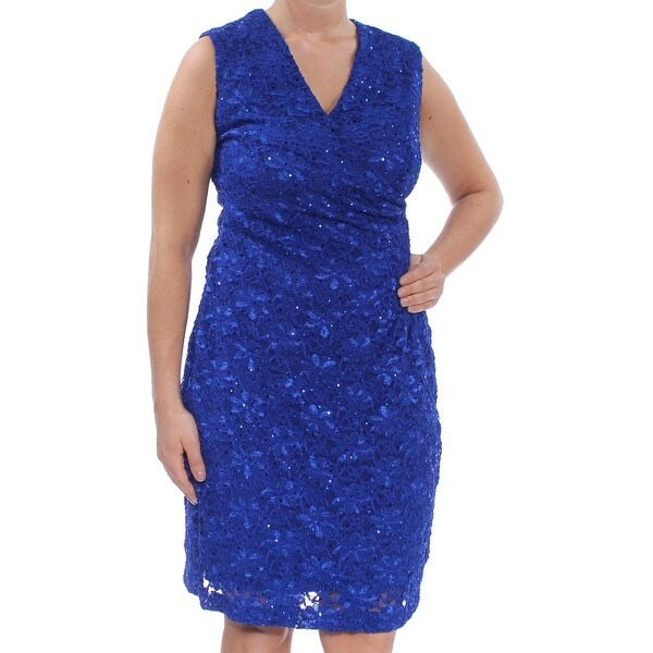CONNECTED Womens Blue Sequined Lace Sleeveless V Neck Knee Length Sheath Cocktail Dress Size: 12