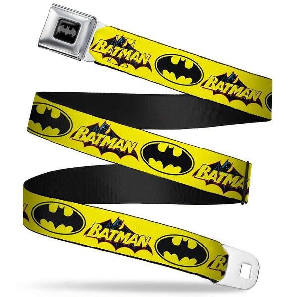 """Batman Fcg Black Fluorescent Yellow 1.5"""" Black Vintage Batman Logo & Bat Seatbelt Belt"""