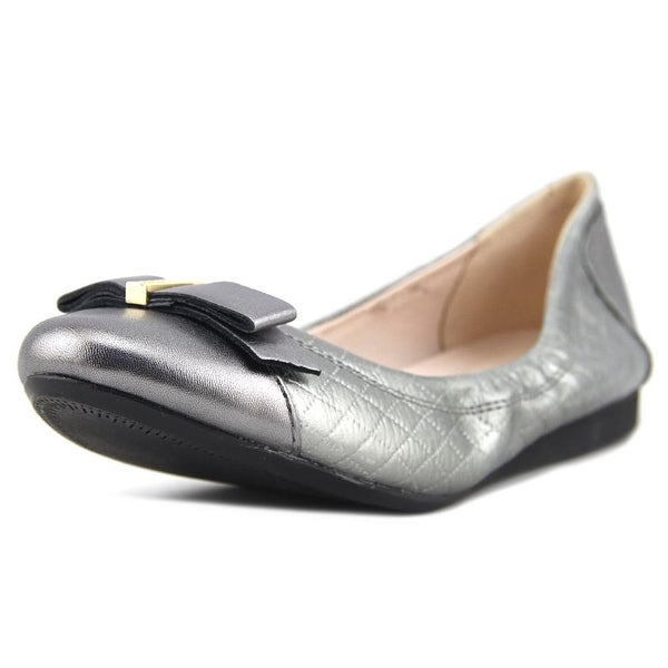 b8f339eed9b4 Cole Haan Elsie Ballet II Bow Flat Women Round Toe Leather Silver Ballet  Flats