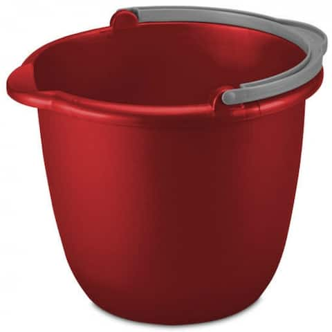 Sterilite 11205812 Durable Spout Pail, Classic Red w/Titanium Handle, 10 Qt