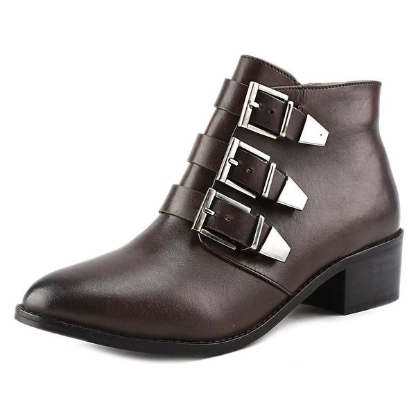29 Porter Rd Ainsley Triple Buckle Bootie Women Leather Brown Ankle Boot