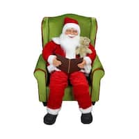 "32"" Jolly Santa Claus Sitting in Green Arm Chair Christmas Figure Decoration - RED"