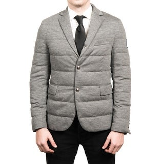 Moncler Men's Gamme Blue Padded Down Blazer Sportscoat Jacket Grey