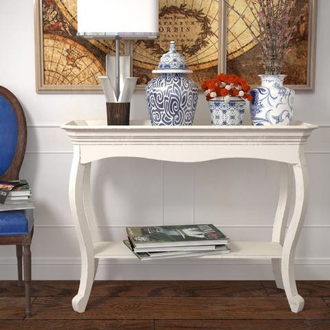 COZAYH French Country Tray Top Console Table, Distressed Farmhouse Finish, White