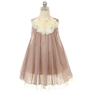 Kids Dream Little Girls Mocha Chiffon Floral Lace Bodice Easter Dress 2T-14