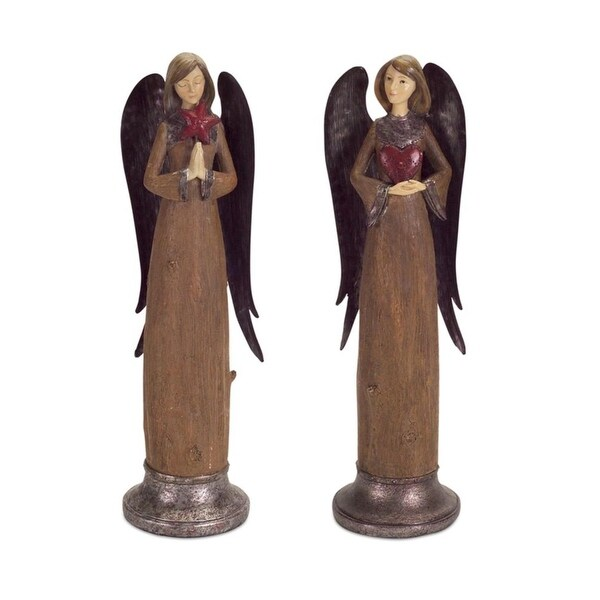Set of 2 Rustic Angels With Heart and Star Christmas Figurines 14.5""