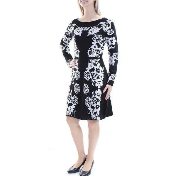 c7d63f4228e8 Shop INC Womens Silver Metallic Floral Long Sleeve Boat Neck Above The Knee  A-Line Dress Size  S - Free Shipping On Orders Over  45 - Overstock.com -  ...