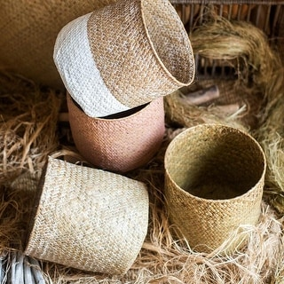 RusticReach Natural Straw Basket in Different Colors
