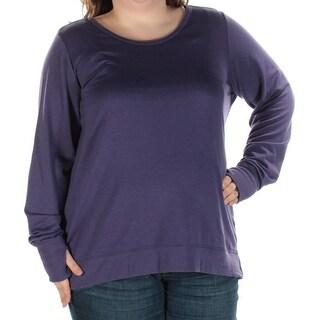 IDEOLOGY $44 Womens New 1155 Purple Jewel Neck Long Sleeve Top 2X Plus B+B