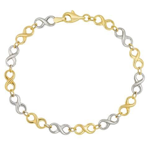 "Forever Last 10KT Gold Bonded over Silver 7.5"" Infinity Bracelet"