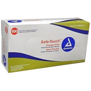 Safe-Touch 2611U Powder Free Vinyl Exam Gloves, Small, 100/Box