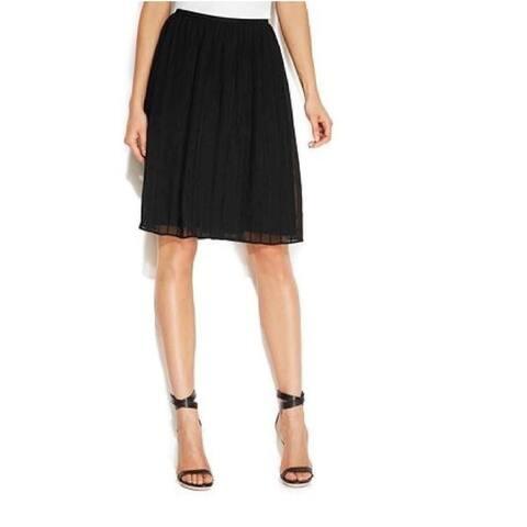 Calvin Klein Chiffon Pintuck Pleated Black Skirt Size M