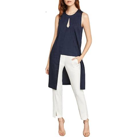 BCBG Max Azria Womens Tunic Top Linen Blend Pinstripe