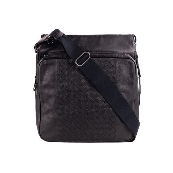 9be3d95315b Shop Bottega Veneta Black Calf Leather Intrecciato Messenger Bag ...