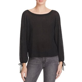 Ella Moss Womens Pullover Top Metallic Ribbed Knit